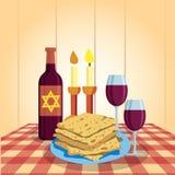 Shabbat沙洛姆 蜡烛、kiddush杯子和未发酵的面包 宗教传统 向量例证