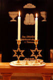 Shabbat. Saturday candles in the Tyumen synagogue Royalty Free Stock Photography