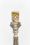 Shabbat candle. Silver candlesticks with olive oil. Stock Photos