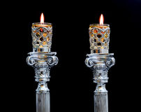 Shabbat candles. Silver candlesticks with olive oil Stock Photography