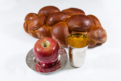 Shabbat. Challah bread and a kiddush cup for the Shabbat Royalty Free Stock Photo