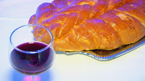 Shabbat with Challah bread and wine. Challah wine Jewish traditions stock video