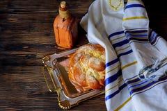 Shabbat eve table jewish holiday celebration. Shalom Traditional Jewish Shabbat eve table jewish holiday celebration ritual and wine Stock Photography