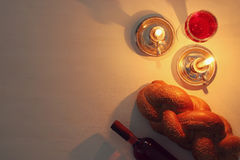 Shabbat image. challah bread and candles. Royalty Free Stock Images