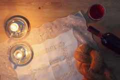 Shabbat image. challah bread and candles. Stock Photography