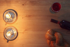 Shabbat image. challah bread and candles. Stock Images