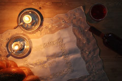 Shabbat image. challah bread and candles. Stock Photo