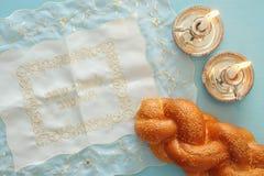 Shabbat image. challah bread and candles Royalty Free Stock Image