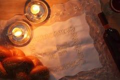 Shabbat image. challah bread and candles. Royalty Free Stock Image