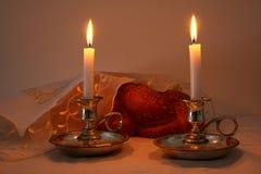 Shabbat image. challah bread, shabbat wine and candelas Stock Image