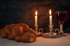 shabbat image. challah bread, shabbat wine and candles stock photos