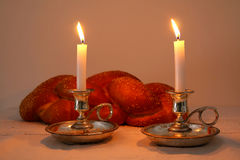 shabbat image. challah bread, shabbat wine and candles Royalty Free Stock Photography