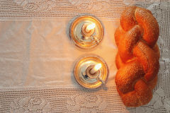 Shabbat image. challah bread, shabbat wine and candles Royalty Free Stock Images
