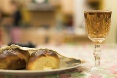 Wine, chalets. shabbat. Shabbat image. challah bread, shabbat wine lifestile Royalty Free Stock Image