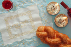 Shabbat image. challah bread, wine and candles Royalty Free Stock Image