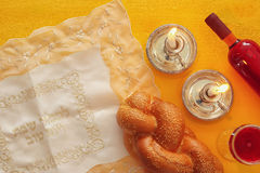 Shabbat image. challah bread, wine and candles Royalty Free Stock Photography