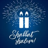 Shabbat Shalom Candles Greeting Card Letterign, Simple Graphic Flat Style Rays Of Light Royalty Free Stock Images