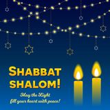 Shabbat Shalom Candles Greeting Card Lettering And Strings Of Lights In Dark Night Sky Stock Photography