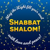 Shabbat shalom candles greeting card lettering, starry night sky background. Shabbat shalom lettering, greeting card, vector illustration. Hebrew words Shabbat Stock Images