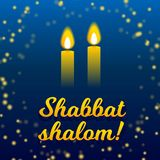 Shabbat shalom candles greeting card lettering, starry night sky background. Shabbat shalom lettering, greeting card, vector illustration. Two burning shabbat Royalty Free Stock Image
