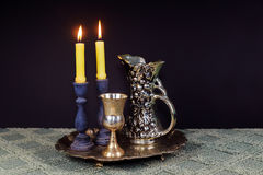 Shabbat Shalom Hebrew with kiddush candles Royalty Free Stock Photo