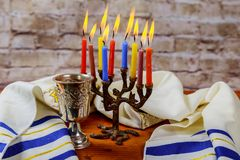Shabbat Shalom - Traditional Jewish Sabbath matzah and wine ritual. Shabbat Shalom matzah and wine traditional Jewish Sabbath ritual Stock Photos