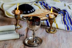 Shabbat Shalom - Traditional Jewish Sabbath matzah and wine ritual. Shabbat Shalom matzah and wine traditional Jewish Sabbath ritual Stock Photography