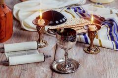 Shabbat Shalom - Traditional Jewish ritual matzah, bread, Stock Photography