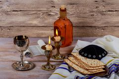 Shabbat Shalom - Traditional Jewish Sabbath matzah and wine ritual. Shabbat Shalom matzah and wine traditional Jewish Sabbath ritual Stock Photo
