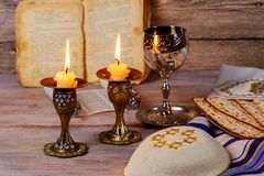 Shabbat Shalom - Traditional Jewish Sabbath ritual. Shabbat Shalom - Traditional Jewish Sabbath matzah, and wine. ritual Royalty Free Stock Images