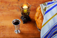 Shabbat Shalom Traditional Jewish Sabbath ritual. Shabbat Shalom - Traditional Jewish Sabbath ritual challah bread, wine Stock Images
