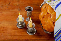 Shabbat Shalom Traditional Jewish Sabbath ritual. Shabbat Shalom - Traditional Jewish Sabbath ritual challah bread, wine Royalty Free Stock Photos