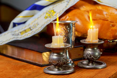 Shabbat Shalom Traditional Jewish Sabbath ritual challah bread, wine. Shabbat Shalom - Traditional Jewish Sabbath ritual challah bread, wine Stock Photo
