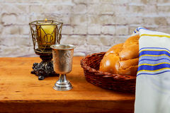 Shabbat Shalom Traditional Jewish Sabbath ritual. Shabbat Shalom - Traditional Jewish Sabbath ritual challah bread, wine Royalty Free Stock Images