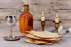 Shabbat Shalom - Traditional Jewish Sabbath ritual matzah wine. Shabbat Shalom - Traditional Jewish Sabbath ritual matzah, and wine Stock Photography