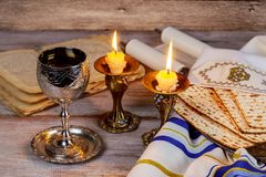 Shabbat Shalom - Traditional Jewish Sabbath ritual matzah wine. Shabbat Shalom - Traditional Jewish Sabbath ritual matzah, and wine Royalty Free Stock Images