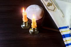 Shabbat Shalom - Traditional Jewish Sabbath ritual. Shabbat Shalom - Traditional Jewish Sabbath matzah, and wine. ritual Royalty Free Stock Image