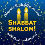 Shabbat shalom two candles greeting card lettering, starry night sky background,. Shabbat shalom lettering, greeting card, vector illustration. Two burning Royalty Free Stock Images