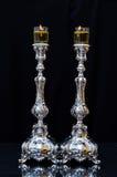 Shabbat stearinljus med olivolja Fotografering för Bildbyråer