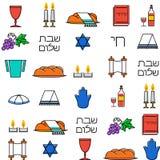 Shabbat symbols seamless pattern. Thin line background. Hebrew text Shabat Shalom . Vector illustration Royalty Free Stock Photos