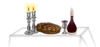 Shabbat table Stock Photo