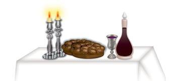 Shabbat table. Illustration of a set shabbat table Stock Photo