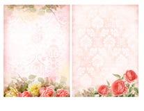 Shabby κομψά υπόβαθρα με τα τριαντάφυλλα Στοκ Φωτογραφία