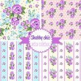 Shabby κομψός αυξήθηκε σχέδια άνευ ραφής σύνολο προτύπων Εκλεκτής ποιότητας floral σχέδιο, υπόβαθρα Στοκ Εικόνα