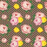Shabby κομψό άνευ ραφής σχέδιο Διανυσματικά εκλεκτής ποιότητας τριαντάφυλλα Στοκ εικόνα με δικαίωμα ελεύθερης χρήσης