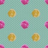 Shabby κομψό άνευ ραφής σχέδιο Διανυσματικά εκλεκτής ποιότητας τριαντάφυλλα Στοκ Φωτογραφία