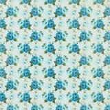 Shabby μπλε εκλεκτής ποιότητας floral αυξήθηκε ανασκόπηση επαναλαμβάνει στοκ εικόνα