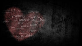 Shabby background with painted heart with the words, antonyms for the word Love.  Royalty Free Stock Photo
