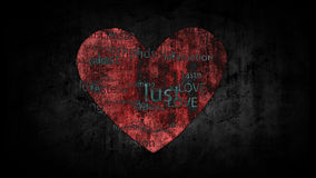 Shabby background with painted heart with the words, antonyms for the word Love.  Stock Images