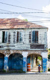 Shabby Blue Two Story Building Royalty Free Stock Photo